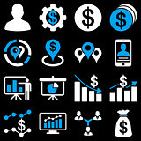 Banking business and charts icons.