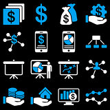 Finance and business charts icons.