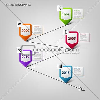 Time line info graphic with colored design pointers template