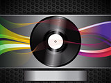 vinyl record and waves on brushed metallic background and panel