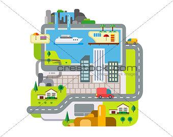 City Built Around Laptop