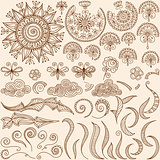 vector set Henna mehndi doodle design elements