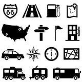 Road trip icon set