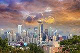 Seattle Cityscape with Stormy Sky