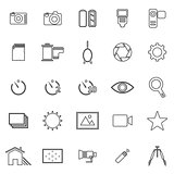 Camera line icons on white background