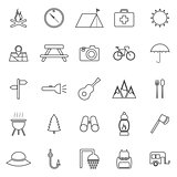 Camping line icons on white background