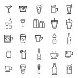 Drink line icons on white background