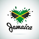 Love Jamaica lettering Heart illustration, carribean music logo design. African flag print