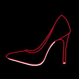 Women's shoe graphic on black background
