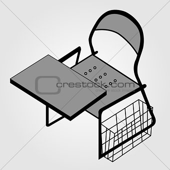 3d view of a drafting table used by designers or architects