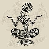 Meditation lotus pose. Tattoo style.