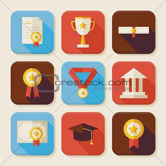 Flat Graduation and Success Squared App Icons Set