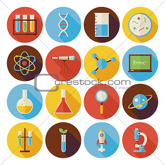 Flat Science and Education Circle Icons Set with long Shadow