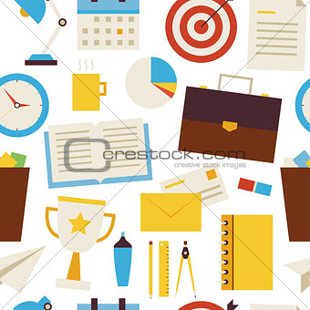 Flat Seamless Pattern Business and Office Objects over White