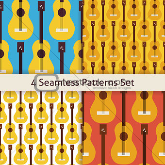 Four Vector Flat Seamless String Music Instrument Guitar Pattern