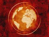 world globe over vintage background
