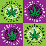cannabis marijuana green leaf symbol design stamps