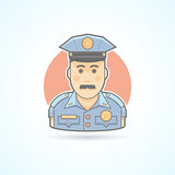 Police officer icon. Avatar and person illustration. Flat colored outlined style.