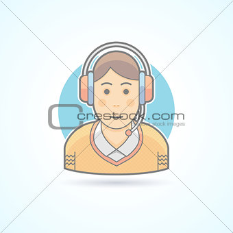 Call center operator icon. Avatar and person illustration. Flat colored outlined style.