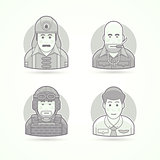 Firefighter, gangster, soldier and steward icons. Avatar and person illustrations. Flat black and white outlined style.