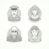 Police officer, maid, body guard, call operator icons. Avatar and person illustrations. Flat black and white outlined style.