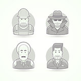 Worker, spy, musician and suit man icons. Avatar and person illustrations. Flat black and white outlined style.