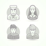 Cook, nun, stylist and designer icons. Avatar and person illustrations. Flat black and white outlined style.