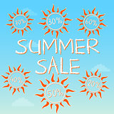 summer sale with different percentages in suns