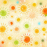 retro summer background with motley suns