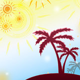summer background with yellow suns and brown palms