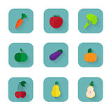 Modern flat icons a healthy lifestyle, proper nutrition.