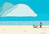 Male Walking Dog at Seashore
