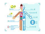 Human Body Anatomy Infographic Flat Design on Blue Background.