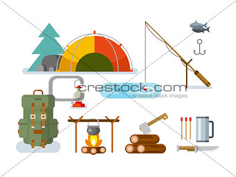 Fishing Hunting Items Flat Design