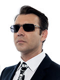 Man caucasian criminal portrait serious wih sunglasses