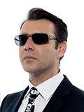 Man caucasian criminal portrait serious wih sunglasses
