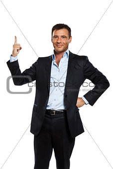 one business man pointing up finger