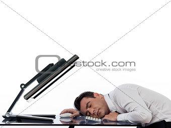 business man using computer sleeping