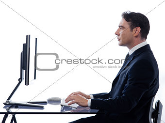 business man computing profile at desk
