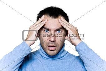 man portrait headache migraine