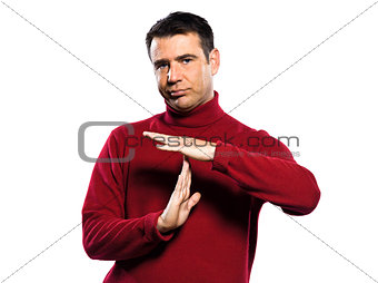 caucasian man time out gesture