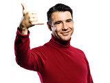 caucasian man gesture Shaka Sign
