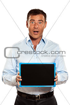 one surprised man holding a blackboard copy space message