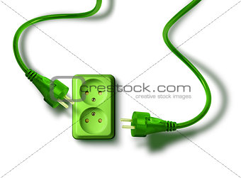 Green energy need concept wall socket