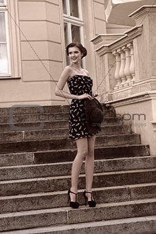BW image happy fashion girl outdoor