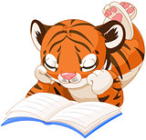 Cute Tiger Reading