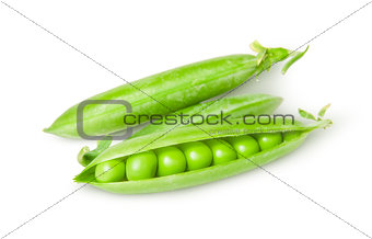Three green peas in pods