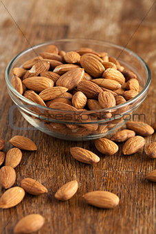 Bowl of Organic Raw Almonds