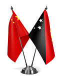 China and Papua New Guinea - Miniature Flags.
