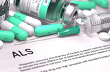 ALS Diagnosis. Medical Concept.